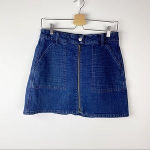 Madewell Denim Utility Full Front Zip Mini Skirt